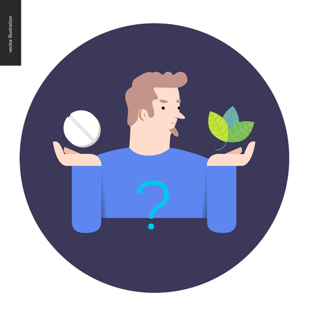 treatment plant: Choosing between an antibiotic pill and natural herbal treatment. Flat vector cartoon illustration of a man holding a tablet in one hand and plant leaves in another, with a question sign above.