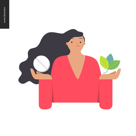 plant hand: Choosing between an antibiotic pill and natural herbal treatment. Flat vector cartoon illustration of a woman holding a tablet in one hand and plant leaves in another.