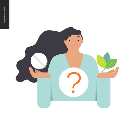 treatment plant: Choosing between an antibiotic pill and natural herbal treatment. Flat vector cartoon illustration of a woman holding a tablet in one hand and plant leaves in another, with a question sign above.