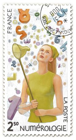 postal stamp: The hand drawn postal stamp with an illustration of a young woman surrounded by digits holding the butterfly net.