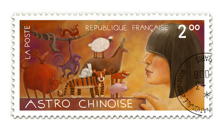 bull snake: The hand drawn postal stamp Chinese horoscope with an illustration of a young woman looking at the small animals, symbols of Chinese zodiac.