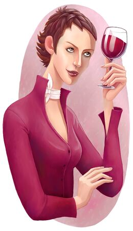 appraise: The illustration of female sommelier holding the glass of red wine, looking through the it on the light.