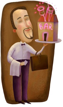 The metaphor illustration of own business: a man holding a small bar on the tray and a briefcase. Stock Photo