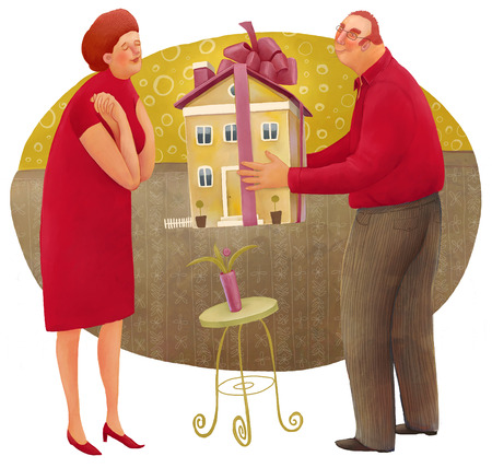 accepting: The illustration of the man giving a house with a bow to the woman. Stock Photo