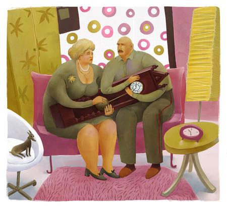 perro asustado: La ilustraci�n de una pareja de ancianos que sostiene el reloj fuera de moda que se sienta en un interior moderno colorido