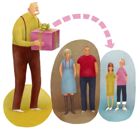 La ilustración metáfora de la herencia. El viejo hombre que da el regalo a sus nietos sobre sus hijos. Foto de archivo