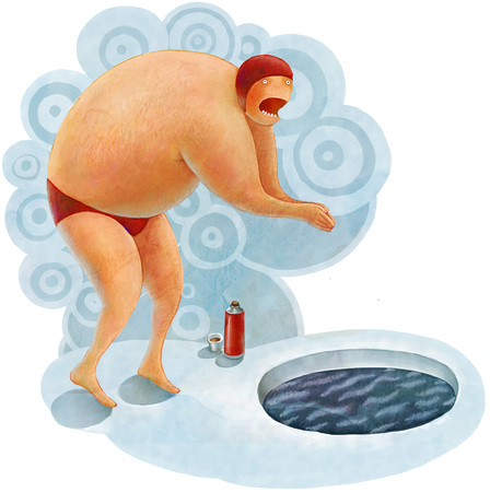 steam mouth: The illustration of a winter swimmer  going to jump into the ice hole Stock Photo
