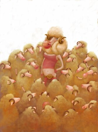 dressed: The illustration af a dressed sheep surrounded by others