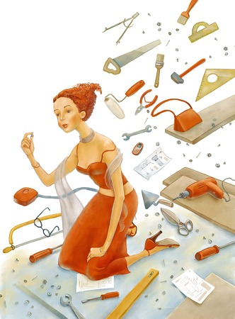 knees: The illustration of a young woman wearing an elegant red dress standing on her knees surrounded by tools and details.