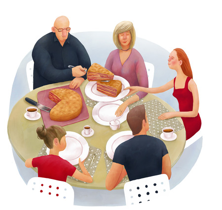 The illustration of division of inheritance metaphor. Family is sitting at the round dinner table and dividing the cake.