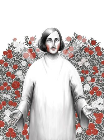 toga: The illustration of Gogol the writer standing in rosarium wearing a white toga