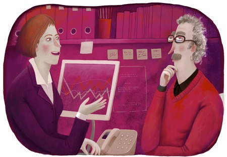 financial advisors: An illustration of a male client and a female consultant sitting in the office discussing a  plan.
