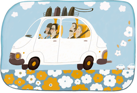 environmental policy: Car sharing - an illustration of four businesspeople office workers eco friendly sharing one car on their road to the office. Stock Photo