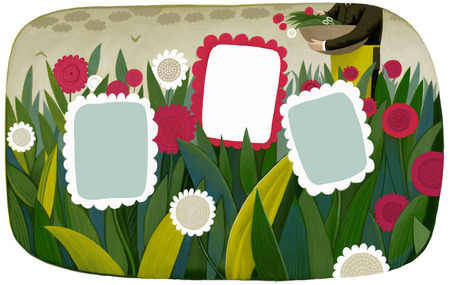 bring up: An illustration of a template flower frames on a field with a gardener on the background, a business metaphor. Stock Photo