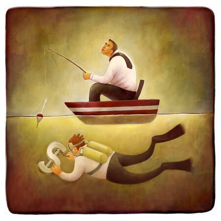 flippers: The illustration of a businessman fishing from the boat and a scuba diver hooking the dollar sign, freelance metaphor