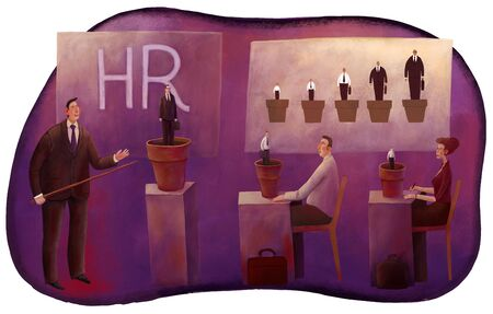vocational training: The illustration of HR managers sitting in the class with a tutor