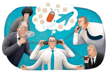 molesto: La ilustraci�n de la meditaci�n empleado de oficina rodeada por los molestos directivos y colegas