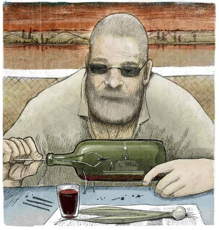 An illustration of a man constructing a floating church in a bottle wit spring onions and a glass of wine on the foreground. Stock Photo