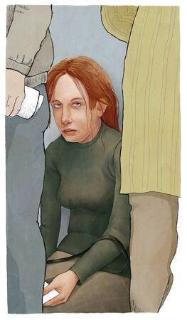 waiting posture: An illustration of exhausted young woman sitting at the wall waiting in a queue with pspers. Stock Photo