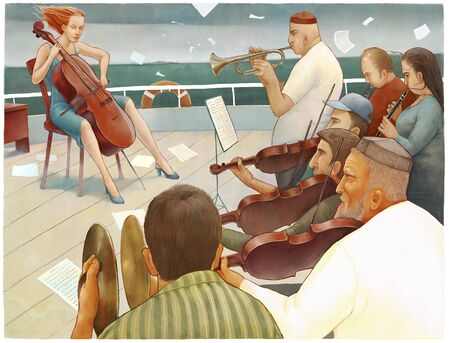 emigranti: An illustration of multi-national orchestra acting on the ship deck - emigrants metaphor