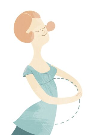 pregnancy woman: The illustration of a young woman dreaming of baby, a metaphor of conception and pregnancy