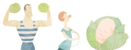 conception: The illustration of a family: young adult man with two heads of cabbage, young woman dreaming of baby and the baby itself, a metaphor of conception and baby planning Stock Photo