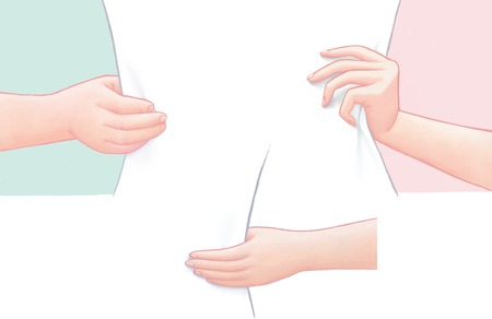 palm reading: Male and female  outlined hands holding a blank sheet of paper. Ideal for web backgrounds and content placement.