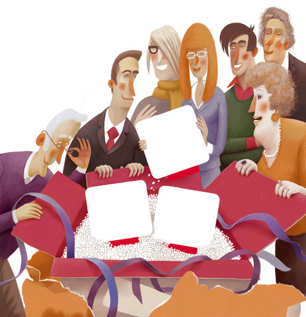 obtain: The illustration of a group of people unpacking the box containing blank objects