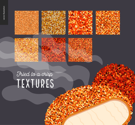 rinds: Meat fried texture patterns. Flat vector cartoon illustrated seamless patterns of fried meat skin with a usage example of prepared food.