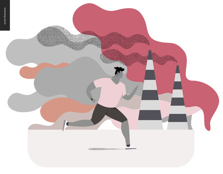 smog: Young man running in smog, gas-polluted air. Flat vector cartoon illustration of a young sportsman running along the urban street, with a lot of smoke and industrial pipes smoking on the background. Illustration