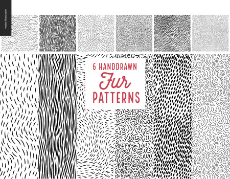 Handdrawn patterns set. Fur seamless patterns with an usage example