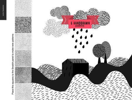 usage: Handdrawn patterns set. Fur seamless patterns with an usage example. Landscape with few patterned hills, rain clouds and trees.