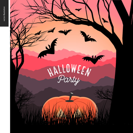 lighted: Halloween Party illustrated poster. cartoon illustration of a forest landscape with a pumpkin and flying bats, a black tree on foreground and sunset lighted hills on the background. Illustration