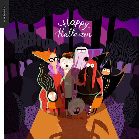 Happy Halloween greeting card with lettering. cartoon illustrated group of kids wearing Halloween costumes and a french bulldog, scared by old lady opened the door. 矢量图像