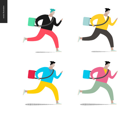 hurrying: Young man running with a bag in four colors. Flat cartoon illustration of a young man hurrying to somewhere, wearing a bag on a long belt. Illustration