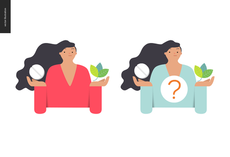 treatment plant: Choosing between an antibiotic pill and natural herbal treatment. Flat cartoon illustration of a woman holding a tablet in one hand and plant leaves in another, with a question sign above. Illustration