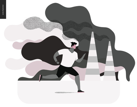 smog: Young man running in smog, gas-polluted air. Flat cartoon illustration of a young sportsman running along the urban street, with a lot of smoke and industrial pipes smoking on the background. Illustration