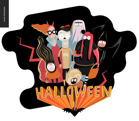 Happy Halloween greeting card with lettering. cartoon illustrated group of kids wearing Halloween costumes and a french bulldog, scared by something. Illustration