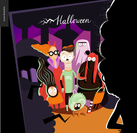 Happy Halloween greeting card with lettering. cartoon illustrated group of kids wearing Halloween costumes and a french bulldog, scared by old lady opened the door. Illustration