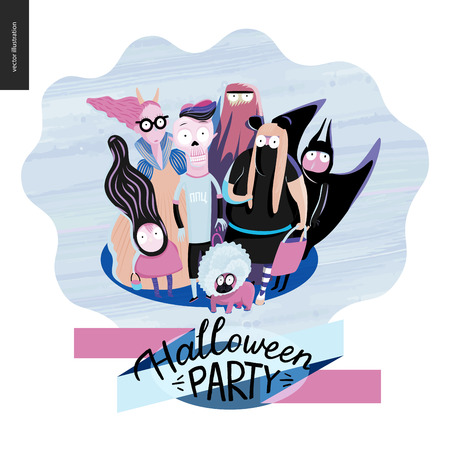 Treak or treat group of children, greeting card with lettering. Vector cartoon illustrated group of kids wearing Halloween costumes and a french bulldog, scared by something. Composition accompained with lettering Halloween Party