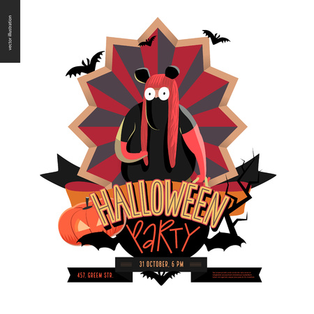 minnie mouse: Halloween Party composed emblem invitation. Flat vectror cartoon illustrated design of a fat girl wearing Minnie Mouse costume, on striped shield, bats, pumpkin jack-o-lantern, ribbon, lettering