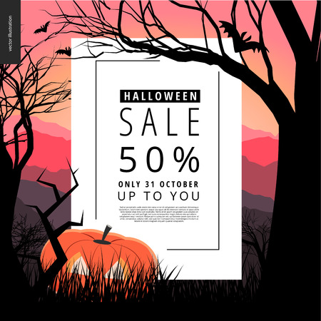 lighted: Halloween Sale notice illustrated poster. Vector cartoon illustration of a forest landscape with a pumpkin and flying bats, a black tree amd jack-o-lantern on foreground and sunset lighted hills. Illustration