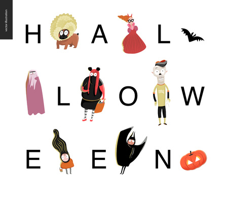 Halloween-Party-Grußkarte Mit Schriftzug. Vector Cartoon Gruppe Von ...