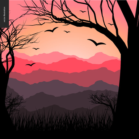 lighted: Layered landscape illustarted poster. Vector cartoon illustration of a forest landscape, flying black birds, a black tree amd grass on the foreground and sunset lighted hills on the background.
