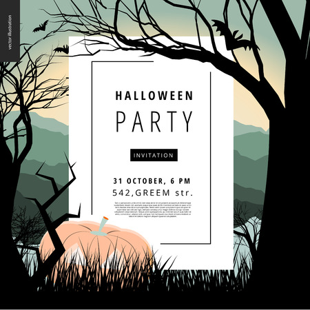 lighted: Halloween Party notice illustrated poster. Vector cartoon illustration of a forest landscape with a pumpkin and flying bats, a black tree amd jack-o-lantern on foreground and sunset lighted hills.