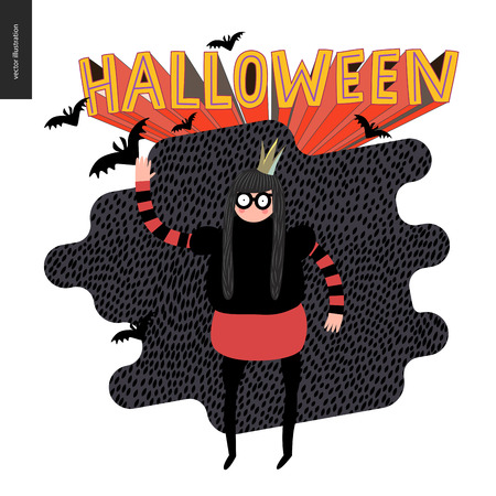 Happy Halloween, illustration with a waving girl. Vector cartoon illustration of a girl wearing a halloween costume with a crown, and flying bats, with a lettering Halloween