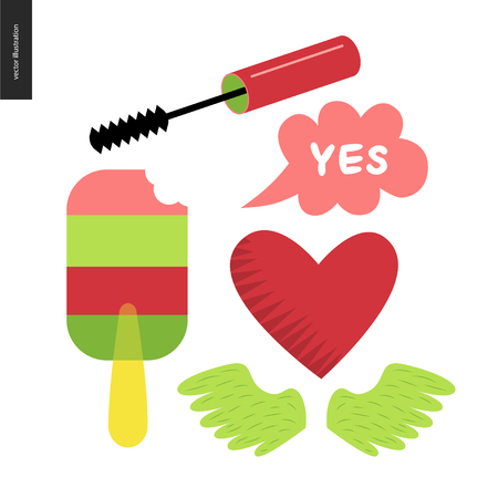 transparent brush: Girlish icons stickers set. Vector flat cartoon illustrated icons of few girl elements - masara brush, transparent popsicle, heart, a pare of wings and lettering Yes bubble.