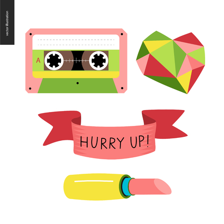 Girlish icons stickers set. Vector flat cartoon illustrated icons of few girl elements - cassette tape, diamond heart, ribbon with lettering Hurry up, and a pink lipstick.