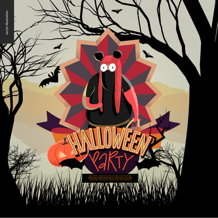 minnie mouse: Halloween Party invitation. Flat vectror cartoon illustration of a fat girl wearing Minnie Mouse costume, in center of striped shield, bats, cutout pumpkin, ribbon, lettering, forest, trees and hills