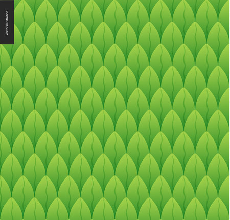 catroon: Foliage seamless pattern. Green leaf seamless vector catroon hand drawn pattern Illustration
